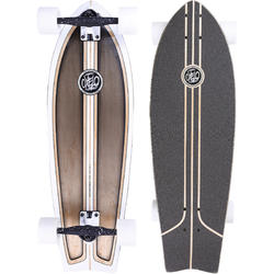 Tabla Longboard Skate OXELO Fish Classic Adulto Blanco Marrón