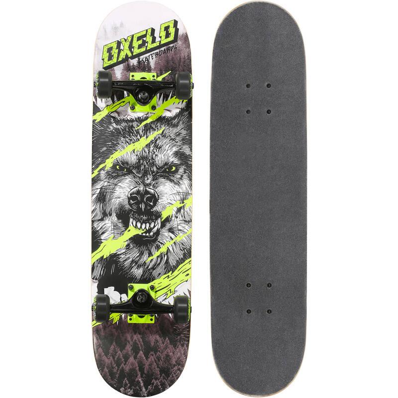 Detský skateboard Mid500 Wolf pre deti od 8 do 12 rokov zelený OXELO