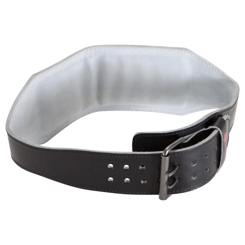 Weight Training Leather Lumbar Support Belt - Black