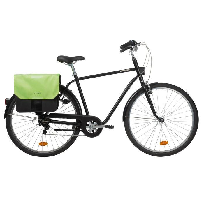 Doppel-Fahrradtasche Gepäcktasche 500 2 x 20 Liter neongelb/schwarz