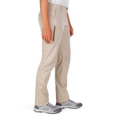 Women's NH500 nature hiking trousers - Beige