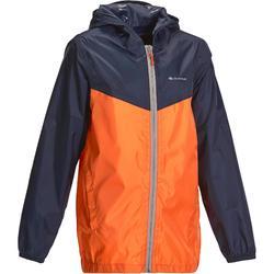 Regenjack Hike 150 voor kinderen, voor wandelen blauw/oranje
