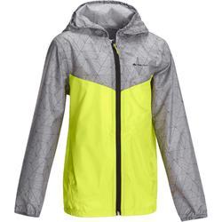 Regenjack Hike 150 voor kinderen, voor wandelen grijs/groen