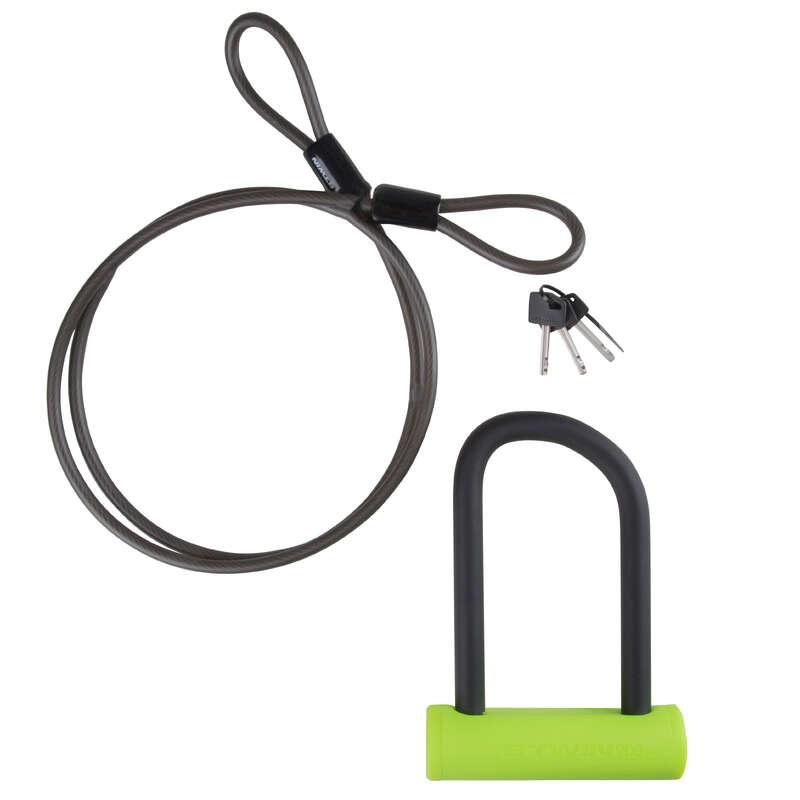 BIKE LOCKS Cycling - 900 Bike Mini D Lock and Cable set - Yellow ELOPS - Bike Accessories