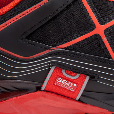 Speed Hiking or Mountain Trail Shoes 300.2 men - black and red.
