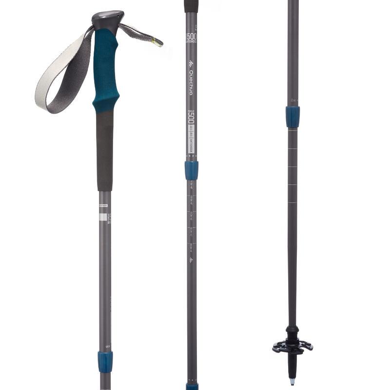 Bastón de Senderismo Forclaz 500 Antishock gris azul
