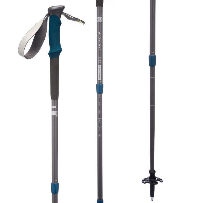 1 Wanderstock Forclaz 500 Antishock grau/blau
