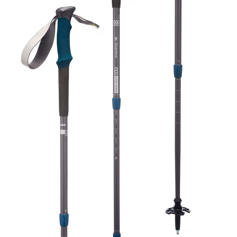 POLES, POLES ACC. HIKING/TREK Trekking - 1 ANTI-SHOCK POLE F500 - GREY FORCLAZ - Trekking