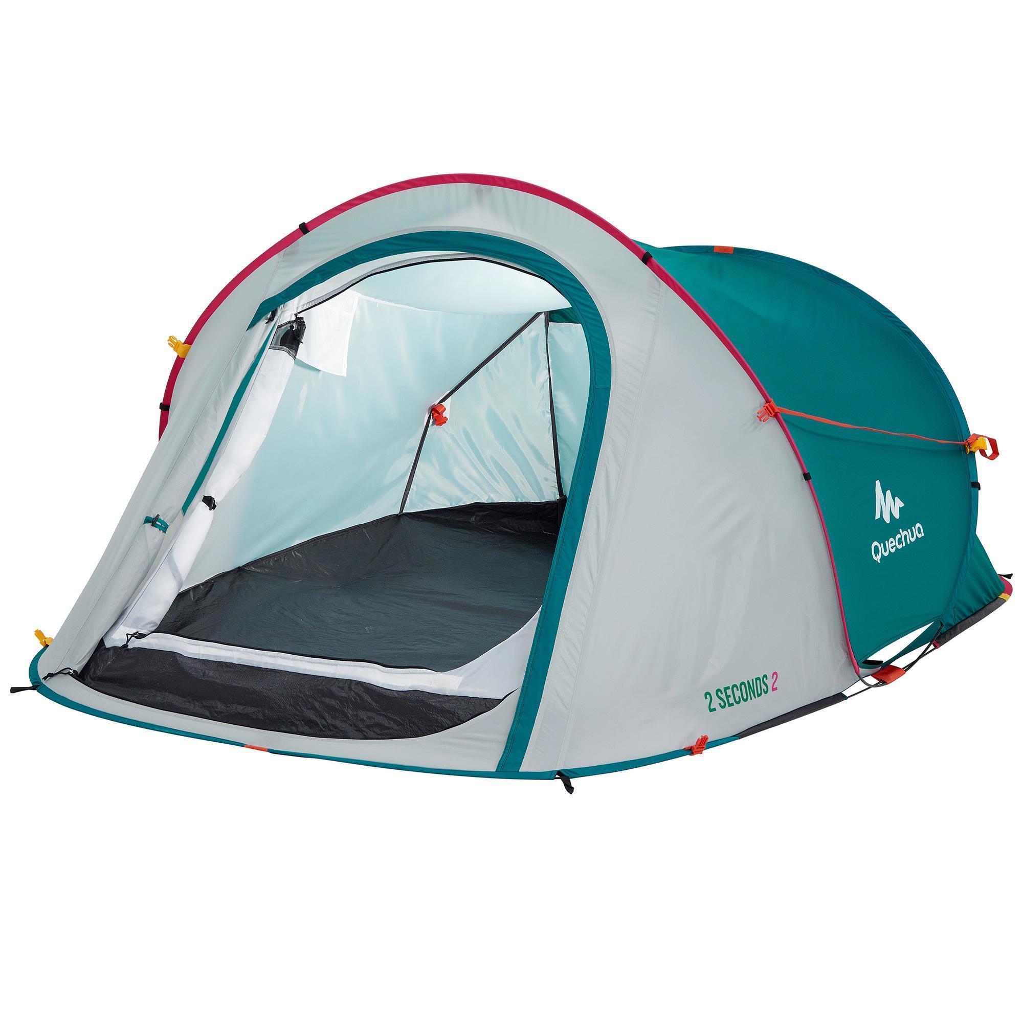2 seconds camping tent 2 person green pink quechua. Black Bedroom Furniture Sets. Home Design Ideas