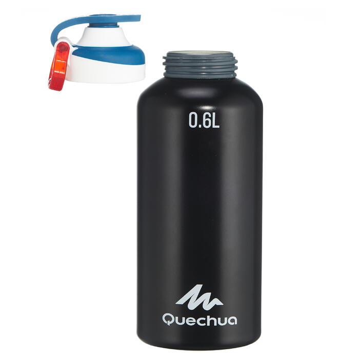 Gourde randonnée 500 bouchon ouverture rapide 0,6 litre aluminium noir - 1136088