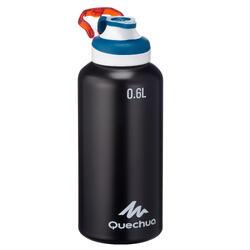Drinkfles voor wandelingen 500 sportdop 0,6 liter aluminium zwart
