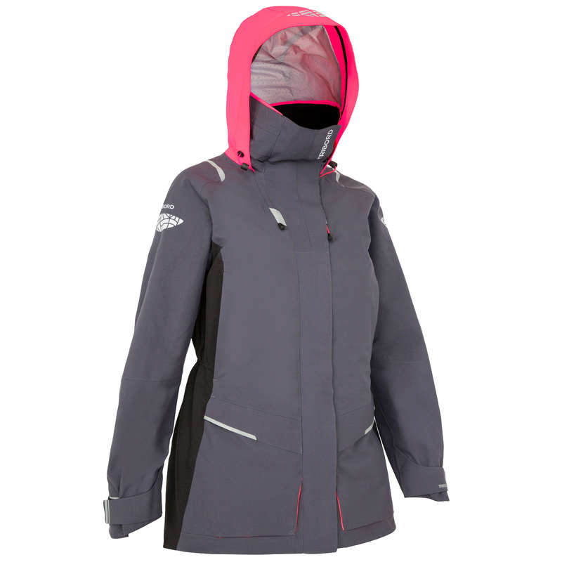 CRUISING RAINY WEATHER WOMAN CLOTHES - 500 Women's Jacket - Grey TRIBORD