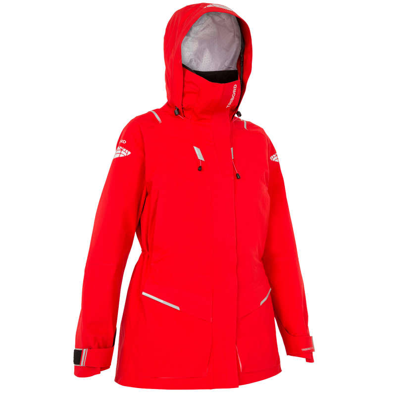 CRUISING RAINY WEATHER WOMAN CLOTHES - 500 Women's Jacket - Red TRIBORD