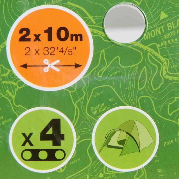 2x tentlijn 10 m + 2 spanners, om 4 scheerlijnen te maken.