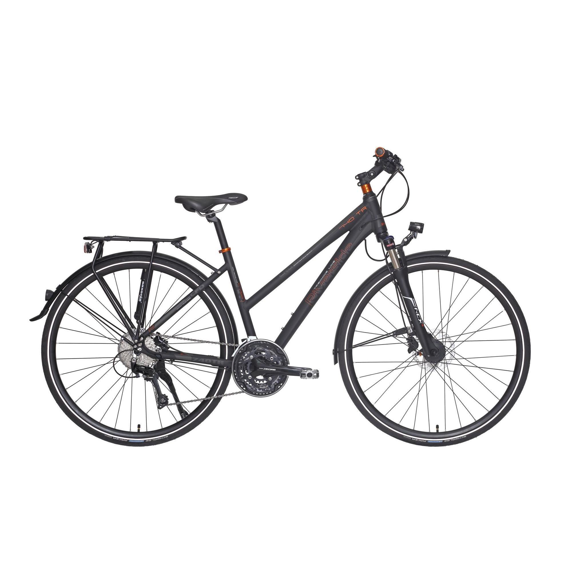 fahrrad 28 trekkingrad riverside 740 tr damen anthrazit orange riverside decathlon. Black Bedroom Furniture Sets. Home Design Ideas