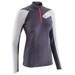 Camiseta de manga larga trail running mujer violeta blanco