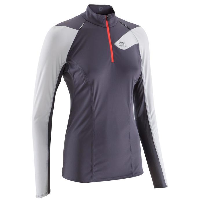 Tee shirt manches longues trail running blanc jaune femme - 1137286