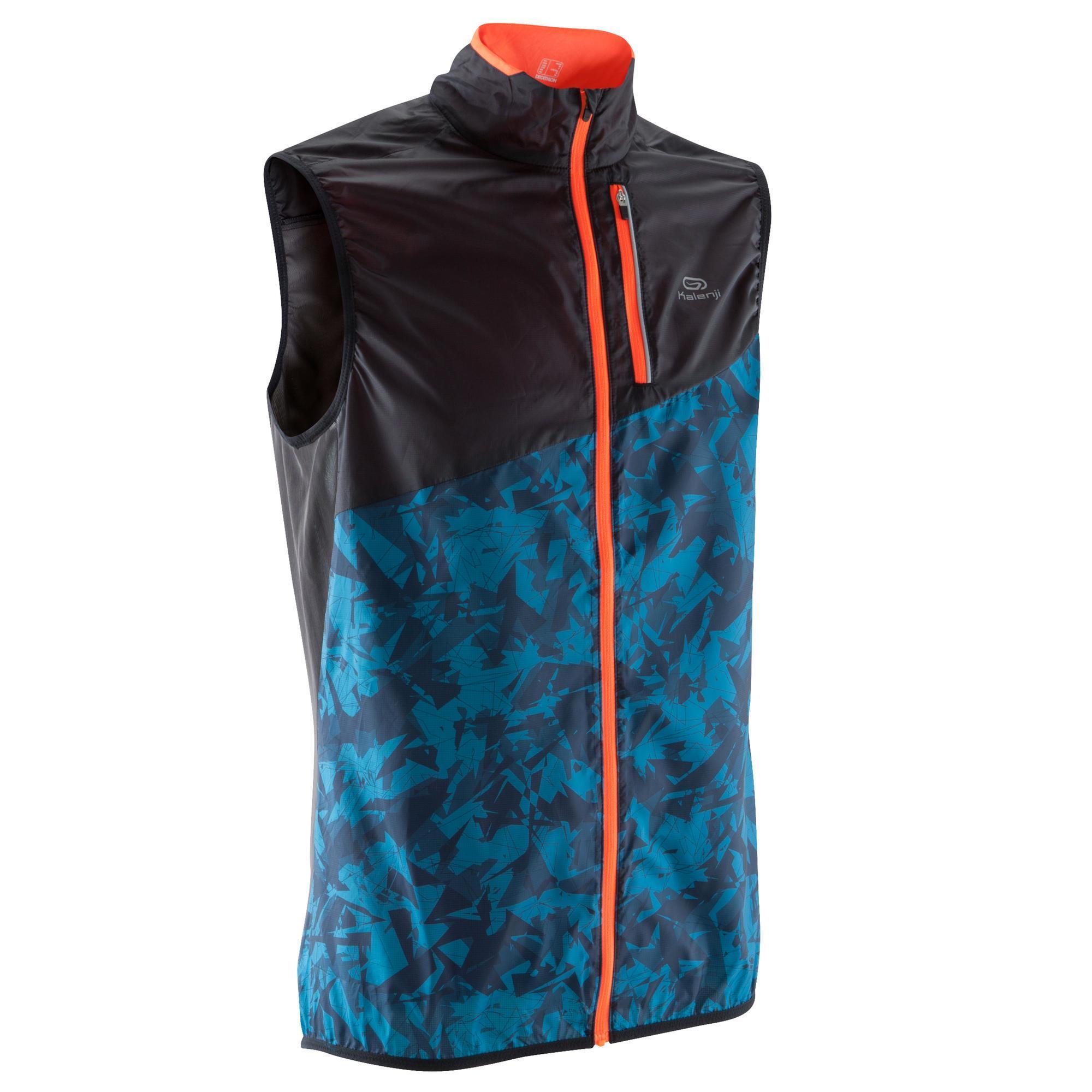 veste sans manche coupe vent trail running homme noir bleu kalenji. Black Bedroom Furniture Sets. Home Design Ideas