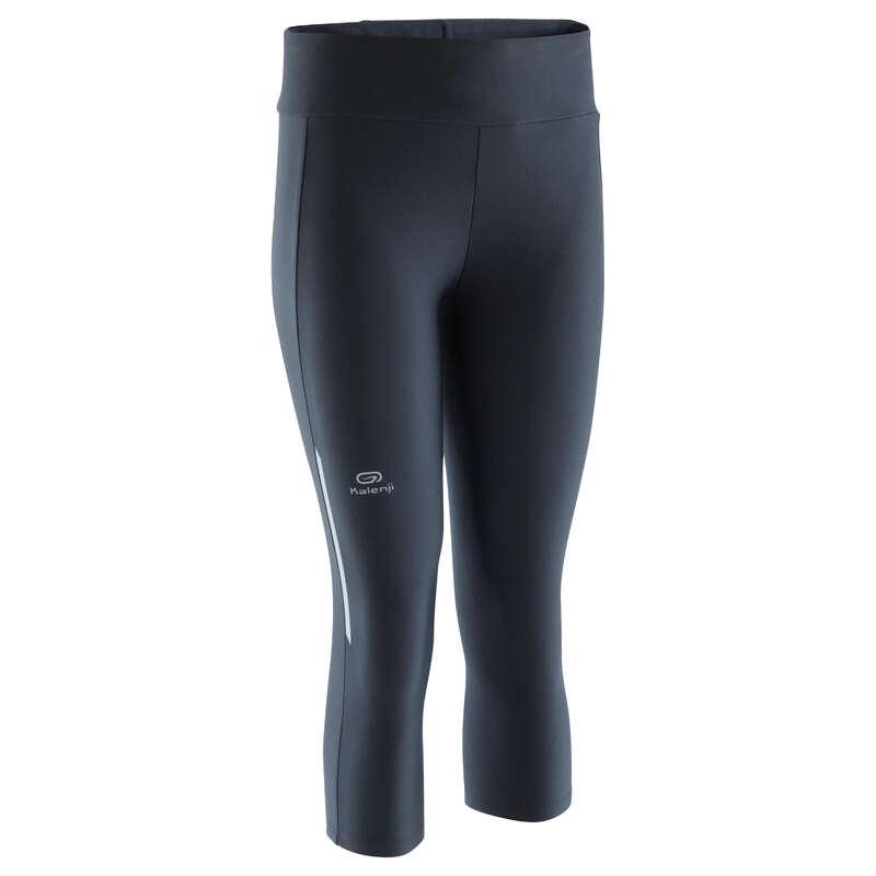 OCCAS WOMAN JOG WARM/MILD WHTR CLOTHES Clothing - RUN DRY CROPPED BOTTOMS BLACK KALENJI - Bottoms