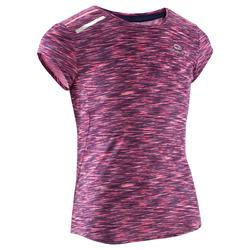 T-shirt Run Dry+ meisjes hardlopen Kalenji gemêleerd roze