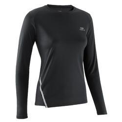 女款慢跑長袖T恤Run Sun Protect - 黑色