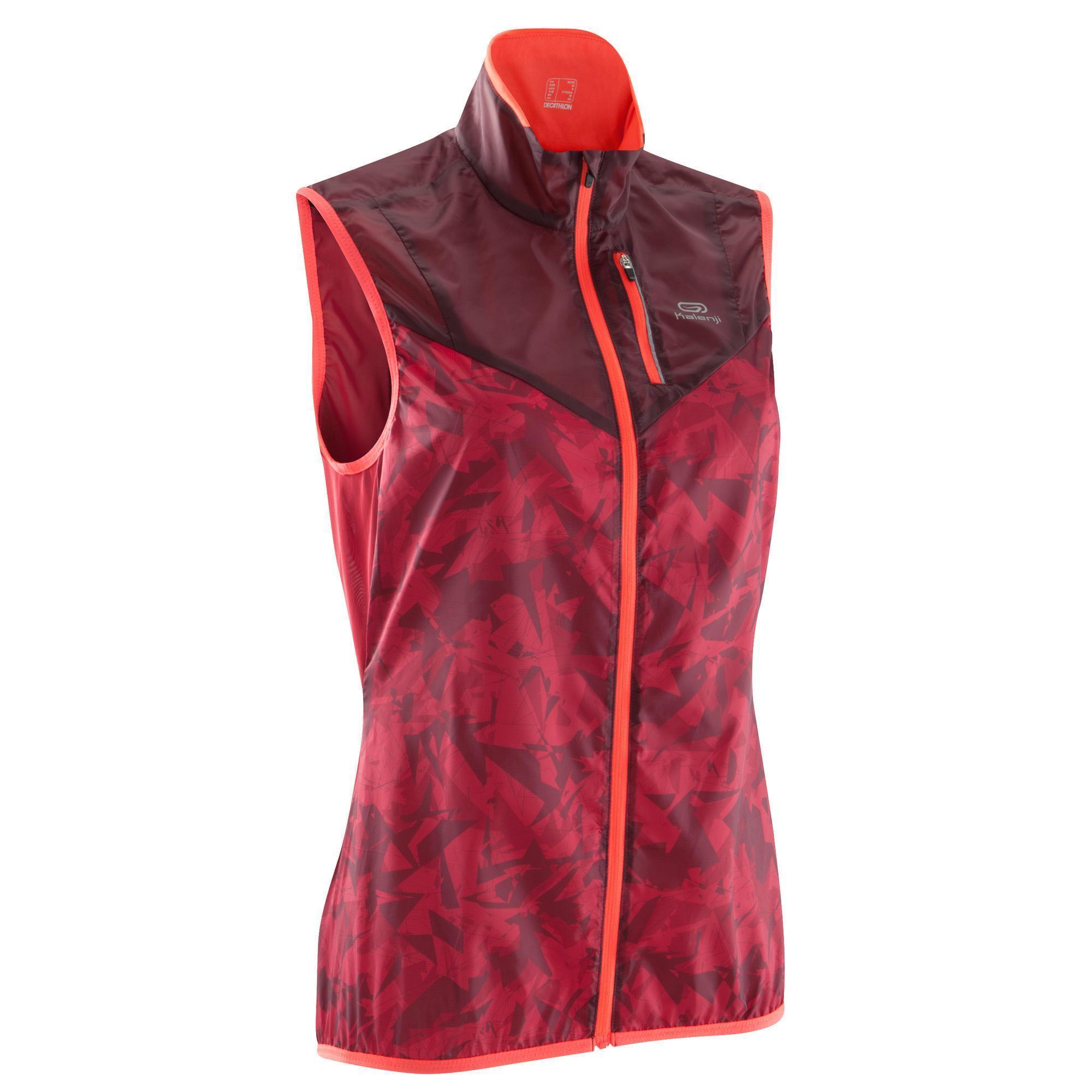 veste sans manche coupe vent trail running femme bordeaux. Black Bedroom Furniture Sets. Home Design Ideas