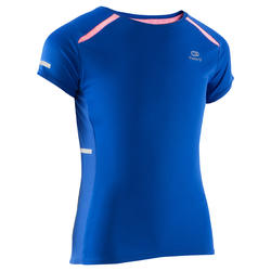 T-shirt Kalenji Kiprun voor meisjes, voor hardlopen, blauw