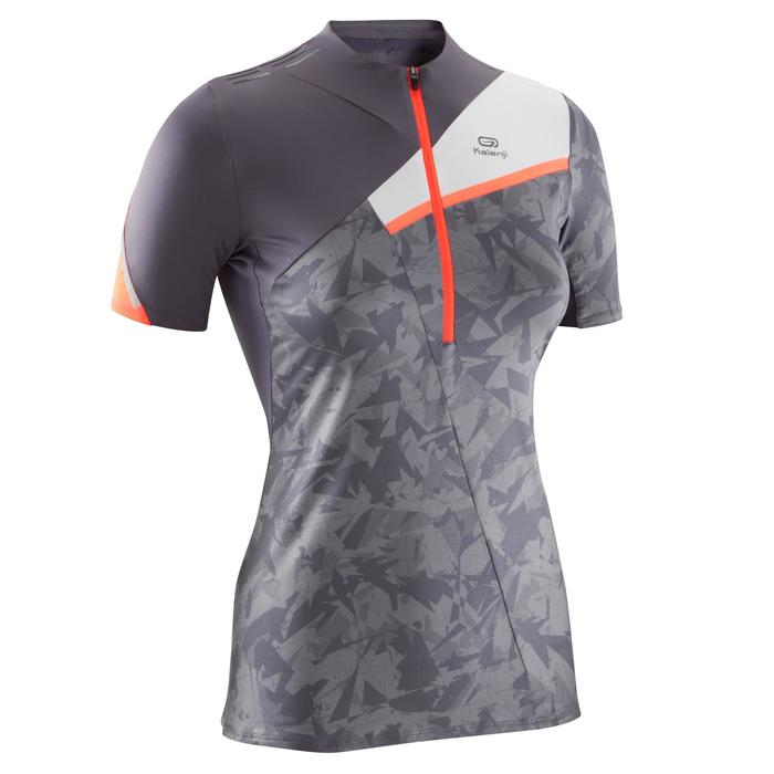 Tee shirt manches courtes perf trail running femme gris violacé blanc