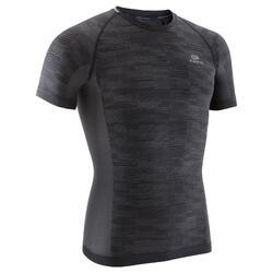 男款跑步T恤SKINCAR KIPRUN - 黑色