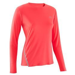 Hardloopshirt met lange mouwen voor dames Run Sun Protect koraalroze