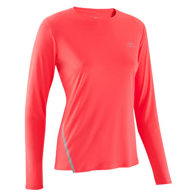 T SHIRT MANCHES LONGUES JOGGING FEMME RUN SUN PROTECT LONG CORAIL FLUO