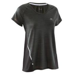 T-shirt korte mouwen Jogging Dames Run Light zwart