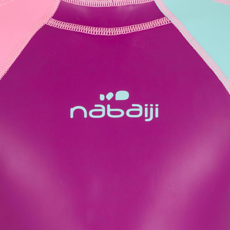 Traje corto de natación niña kloupi violeta rosado