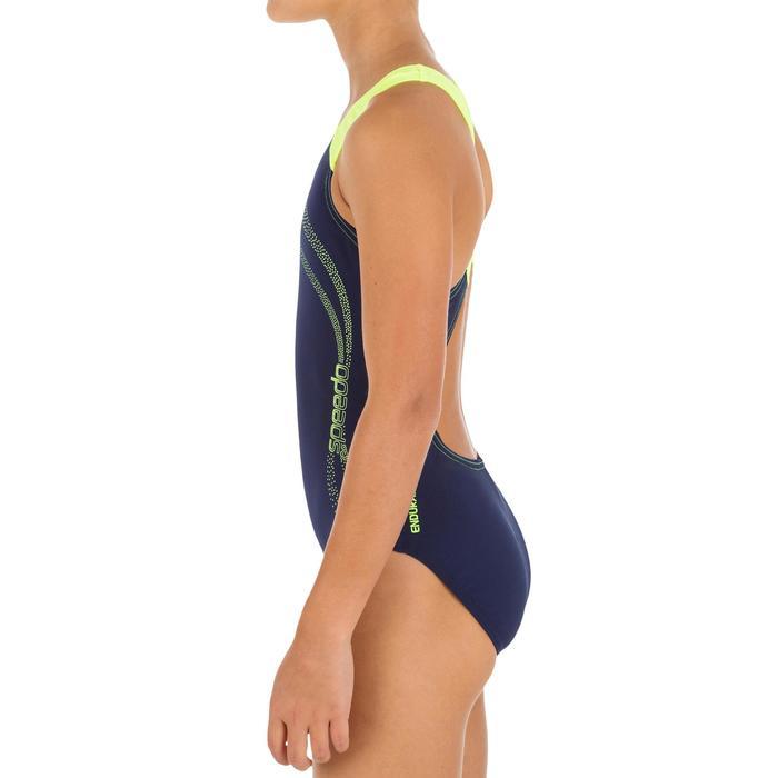Meisjesbadpak Splash marineblauw/geel