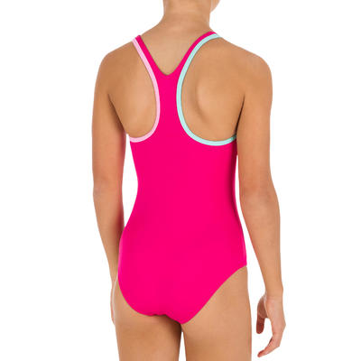 Vestido de baño enterizo de natación niña Leony Rosado