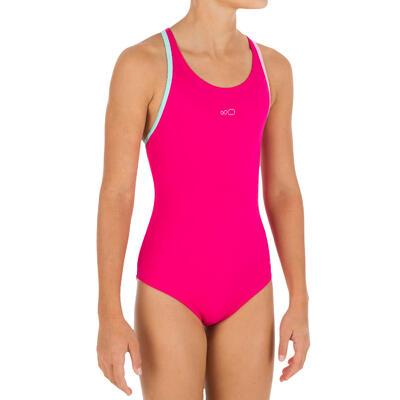 Maillot de bain de natation fille une pièce Leony + rose