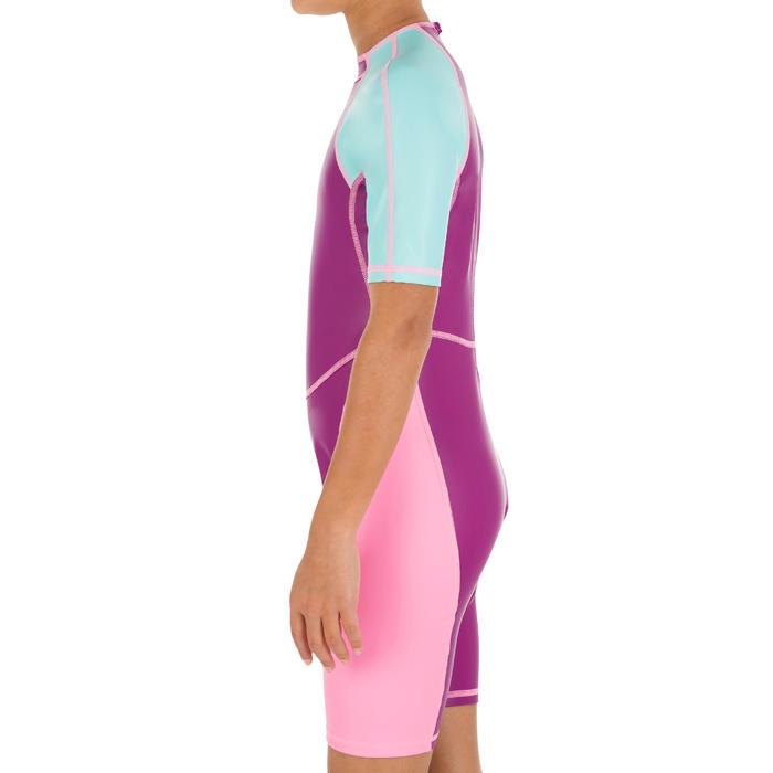 女童連身泳裝- 紫粉色