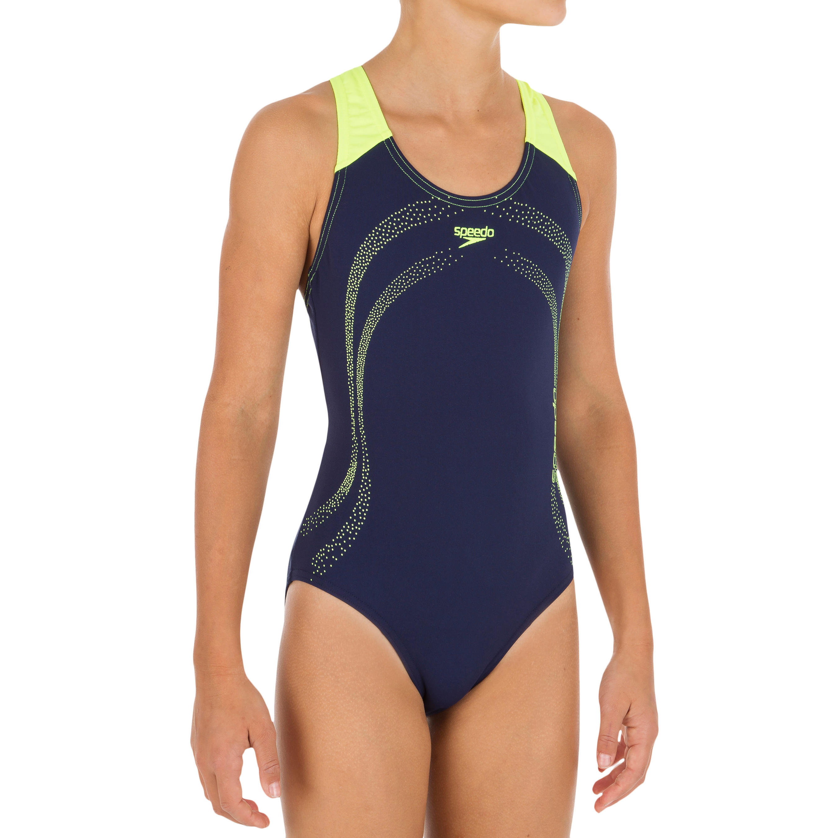 Meisjesbadpak Splash marineblauw-geel