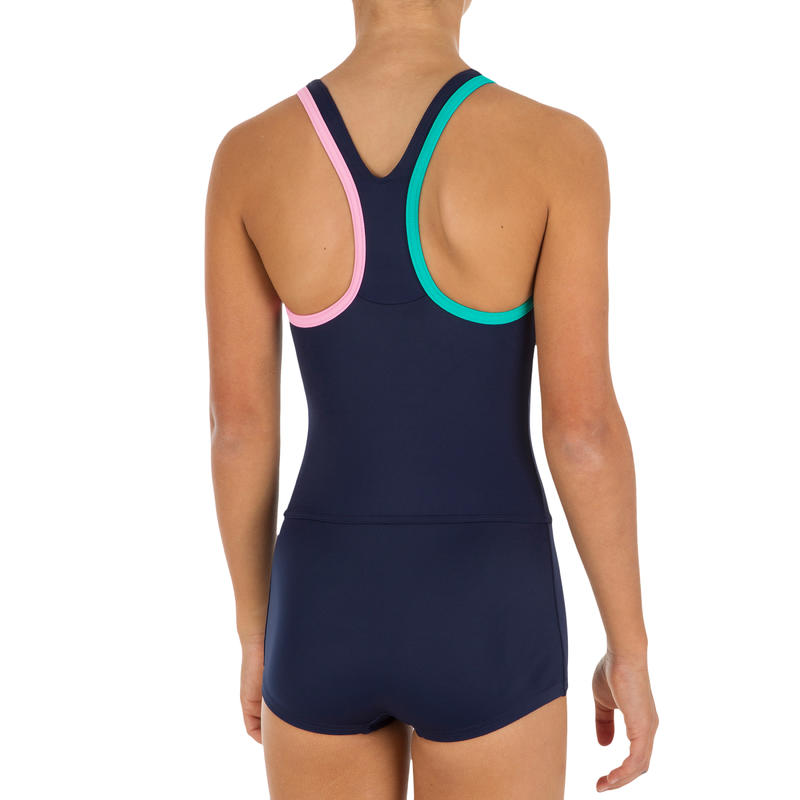 Leony Girls' One-Piece Shorty Legsuit Swimsuit - Navy