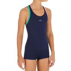 Bañador de natación para niña una pieza Leony shorty Azul marino