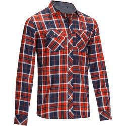 Camisa Manga Comprida Equitação Homem SENTIER Quadrados Marinho e Vermelho