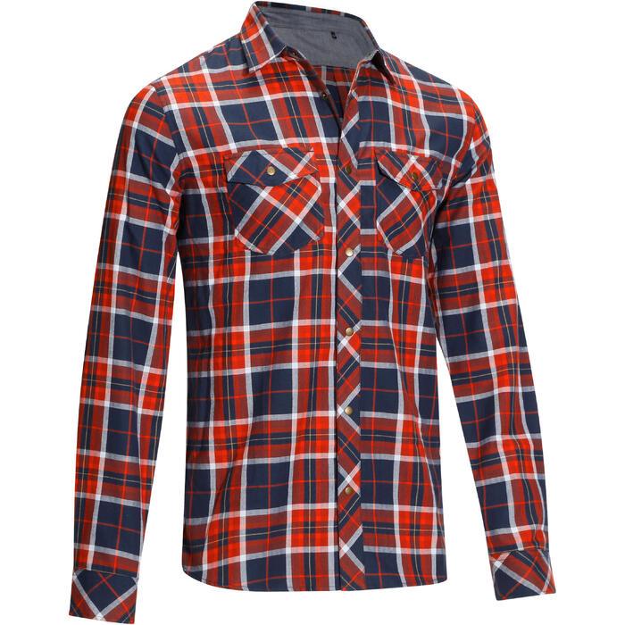Chemise manches longues à carreaux équitation homme SENTIER marine et rouge - 1137704
