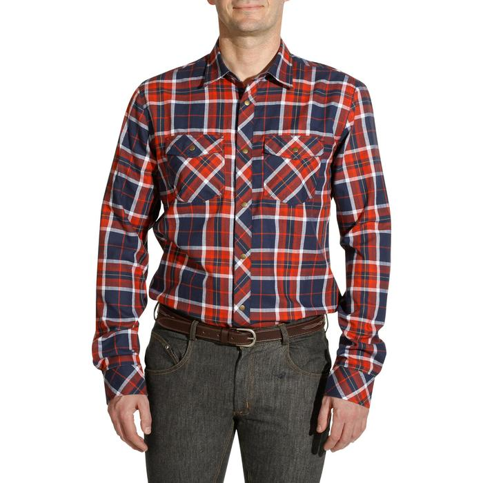 Chemise manches longues à carreaux équitation homme SENTIER marine et rouge - 1137722