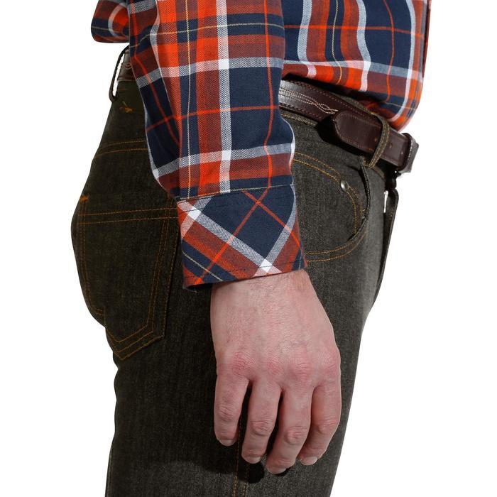 Camisa Equitación OKKSO Sentier Hombre Azul Marino y Rojo Cuadros Manga Larga