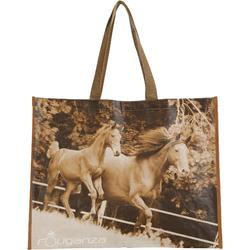 Sac cabas photo équitation gris et camel