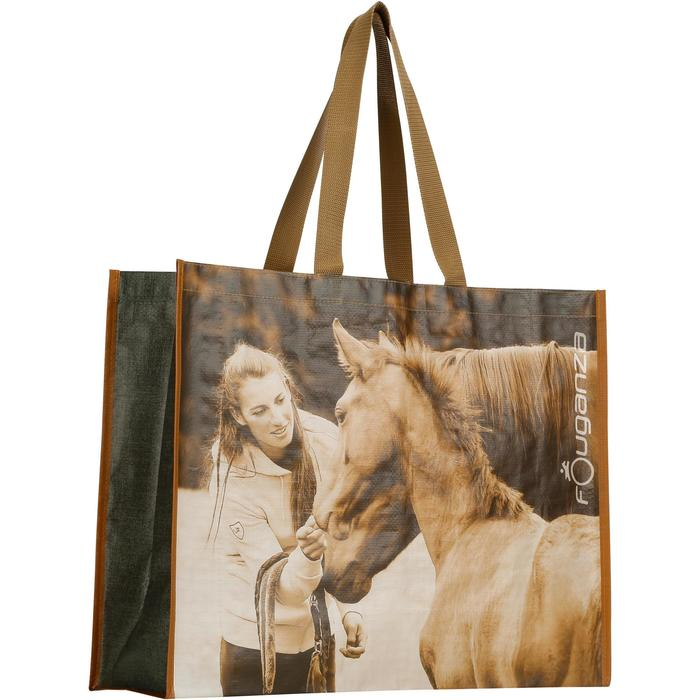 Sac cabas photo équitation gris et camel - 1137891