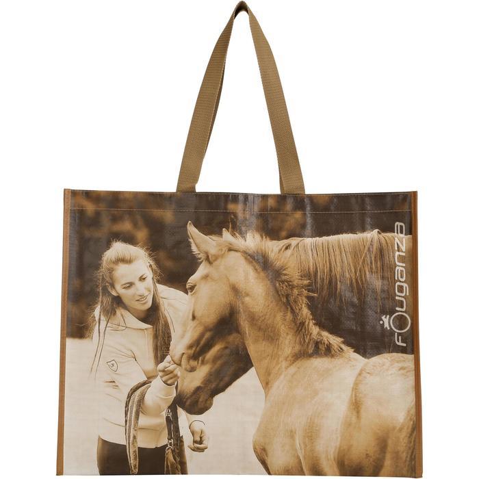 Sac cabas photo équitation gris et camel - 1138009