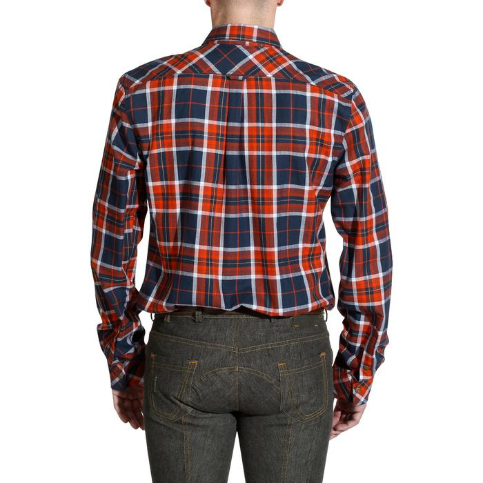 Camisa de manga larga a cuadros equitación para hombre SENTIER azul marino/rojo