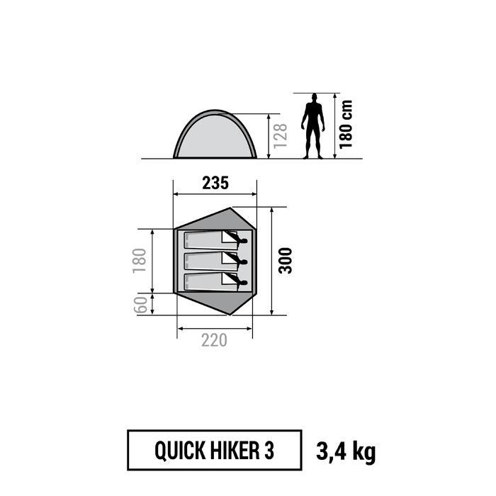 Tente de trek Quick Hiker 3 personnes verte - 1138311