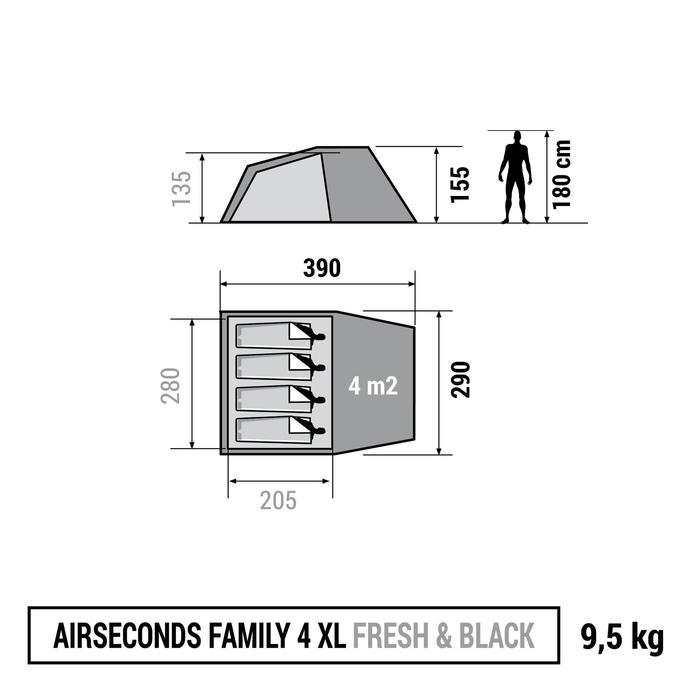 Familienzelt Air Seconds 4 XL Fresh&Black für 4 Personen